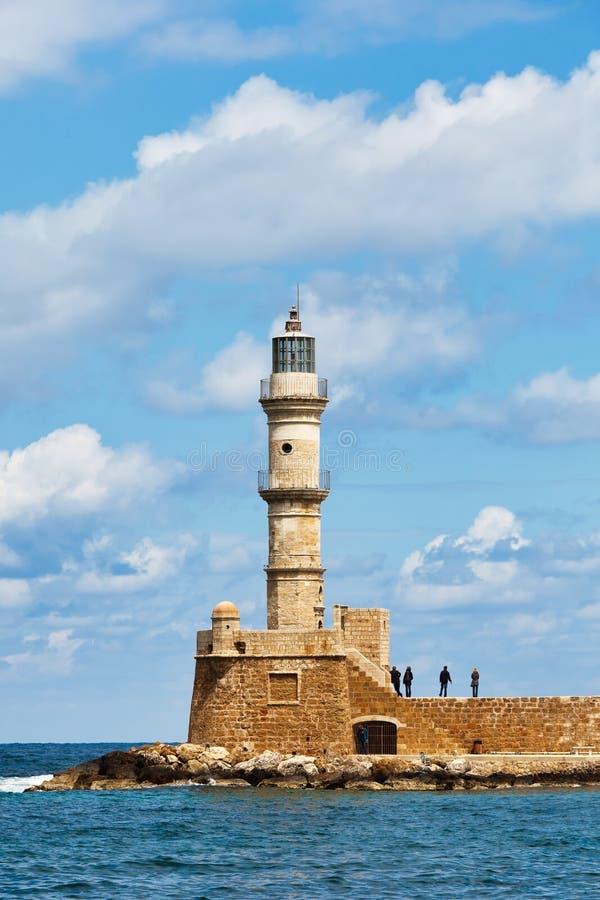 маяк chania venetian стоковые фотографии rf