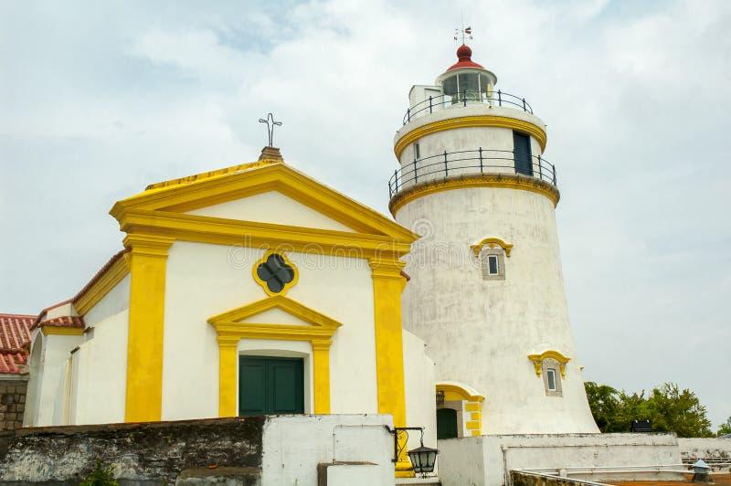 Маяк Guia, крепость и часовня, Макао стоковая фотография rf