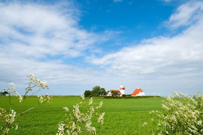 маяк langeland острова hov fyr стоковые изображения rf