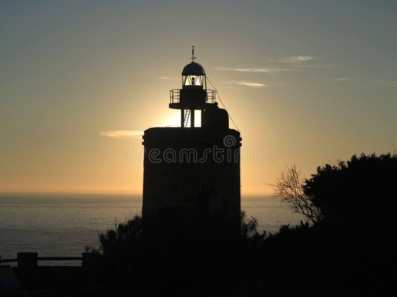 Маяк ` s Camarinal на заходе солнца стоковое изображение