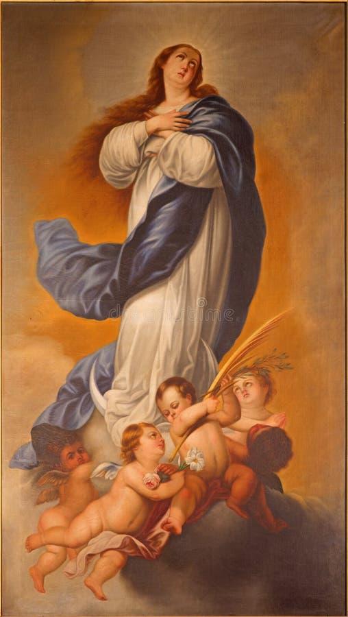 Малага - картина непорочного зачатия девой марии в церков Сантьяго Apostol del Iglesia стоковое изображение