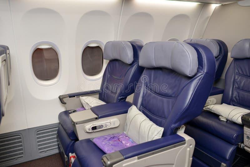 Малайзийский интерьер Боинга 737 авиакомпаний стоковые фотографии rf