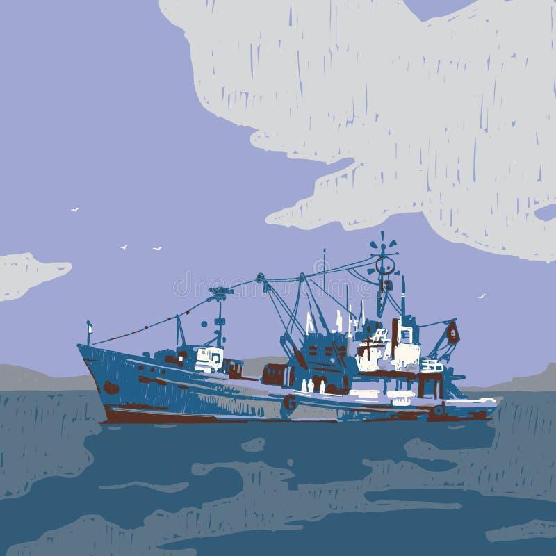 Малая иллюстрация графика рыбацкой лодки иллюстрация вектора