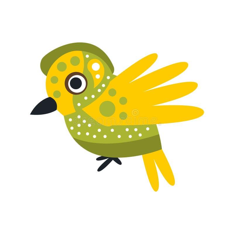 Малая милая иллюстрация вектора персонажа из мультфильма зеленой и желтой птицы красочная бесплатная иллюстрация