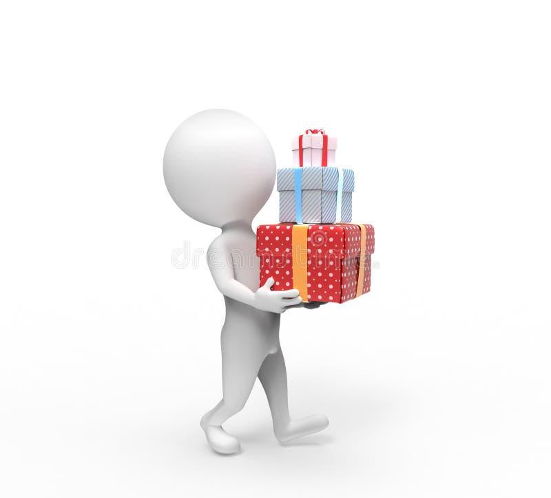 Малая персона носит 3 коробк-подарка бесплатная иллюстрация