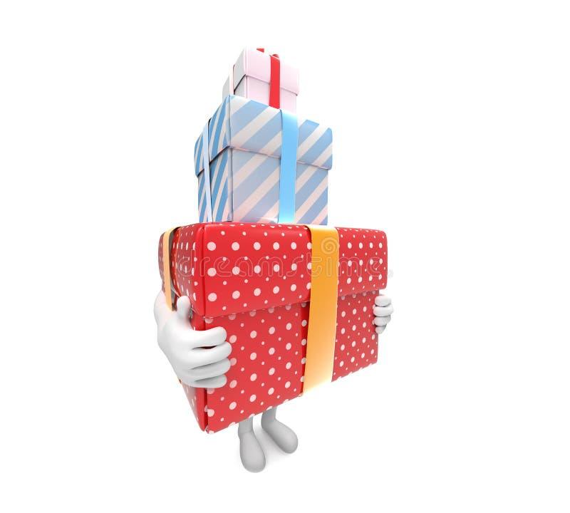 Малая персона носит 3 трудных коробк-подарка бесплатная иллюстрация