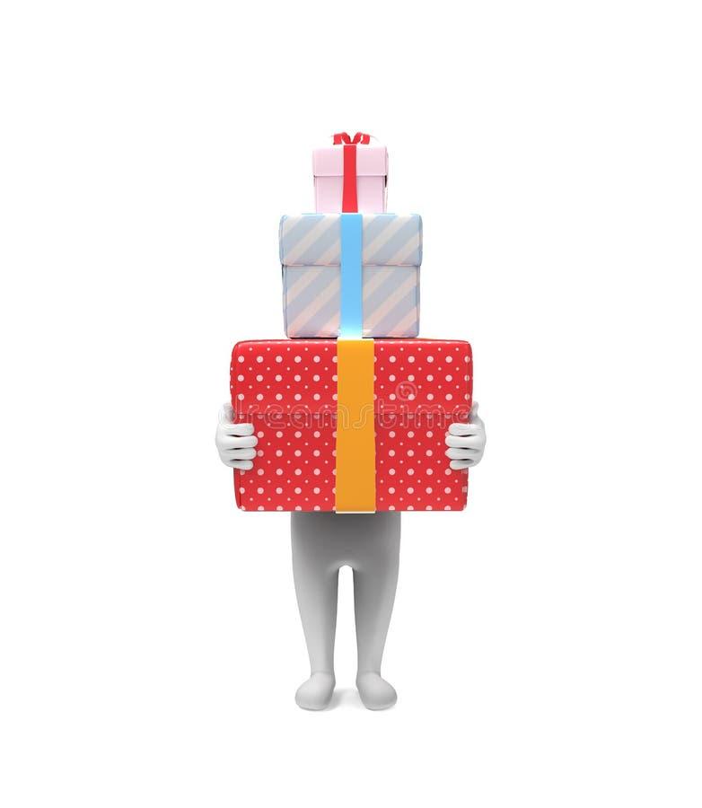 Малая персона носит 3 трудных коробк-подарка иллюстрация штока
