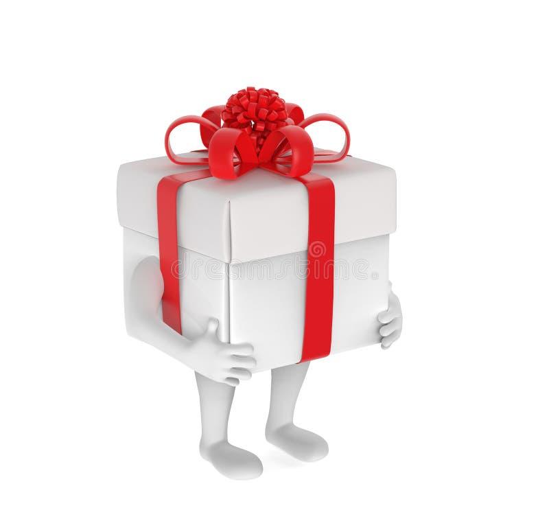 Малая персона с коробк-подарком вместо головы иллюстрация штока