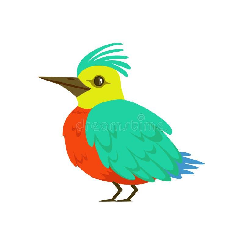 Малая птица с крылами бирюзы, длинным носом и иллюстрацией вектора вихора красочной иллюстрация штока