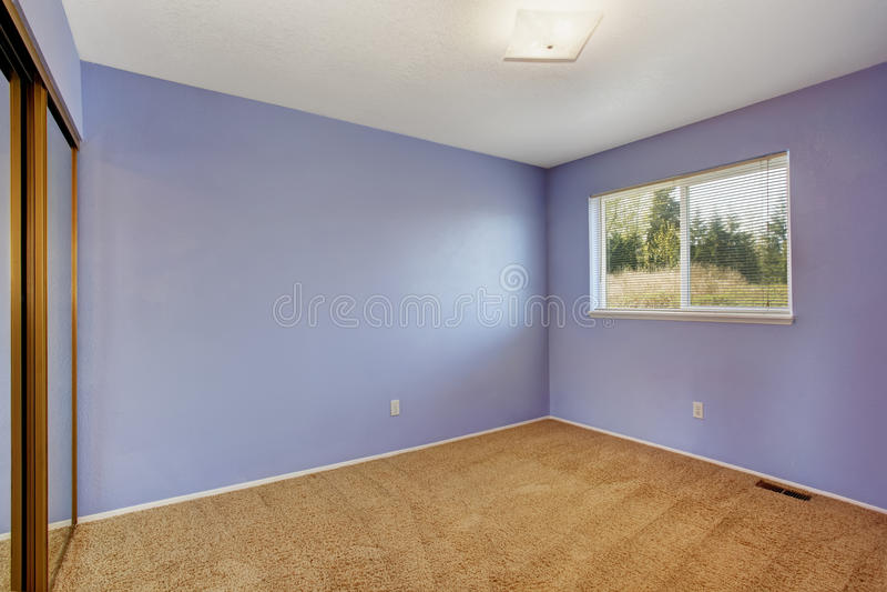 Малая пустая светлая комната в цвете лаванды стоковые фото