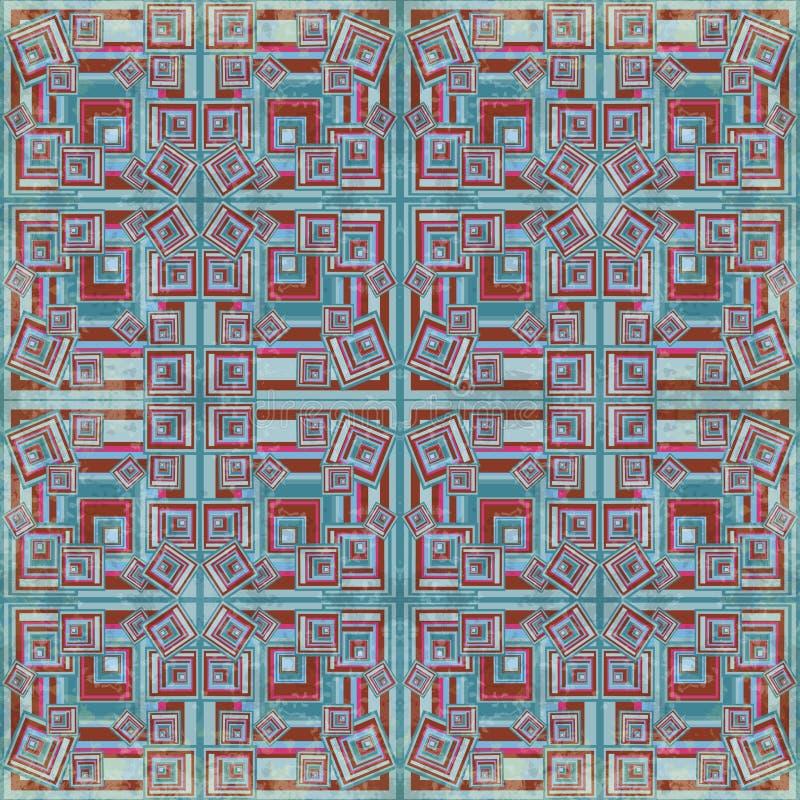 Малая синь и предпосылка красных площадей геометрическая vector влияние grunge иллюстрации иллюстрация штока