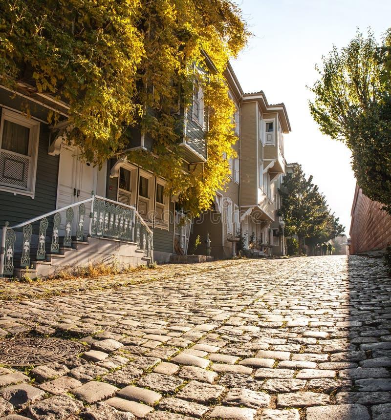Малая улица с историческими домами в Sultanahmet стоковое изображение rf