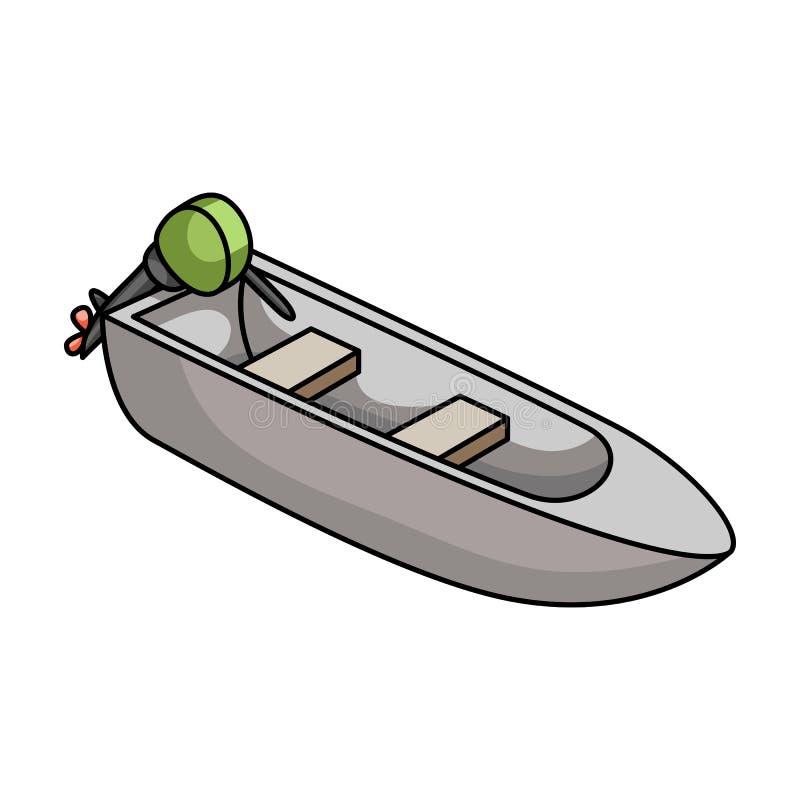 Малая шлюпка металла с мотором для удить Шлюпка для рыбной ловли реки или озера Значок корабля и водного транспорта одиночный в ш иллюстрация вектора
