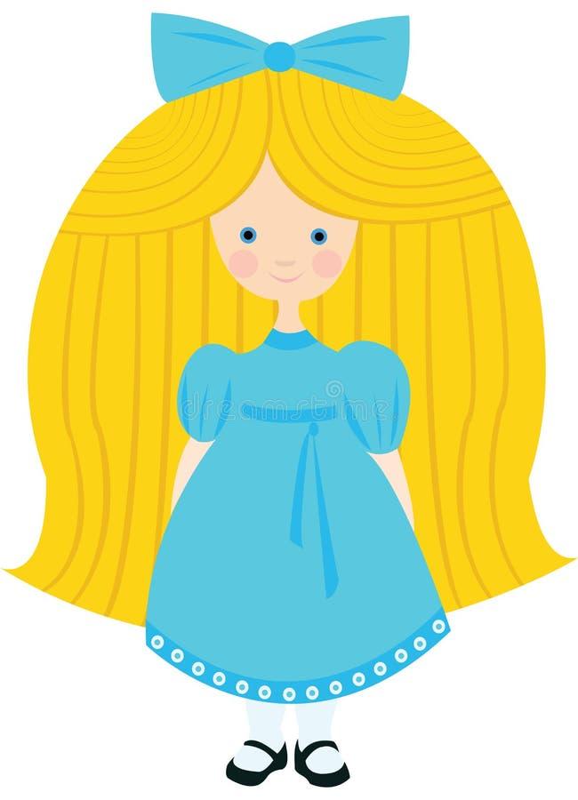 Маленькая белокурая девушка в голубом платье стоковое фото rf