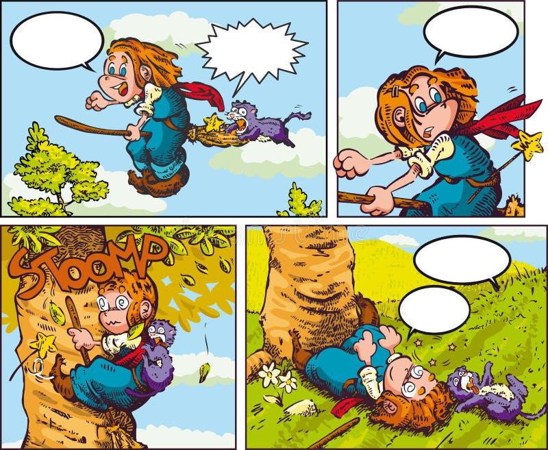 Маленькая ведьма против дерева иллюстрация вектора