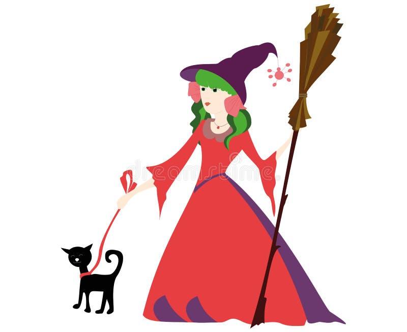 Маленькая ведьма с веником и черным котом на хеллоуин иллюстрация штока
