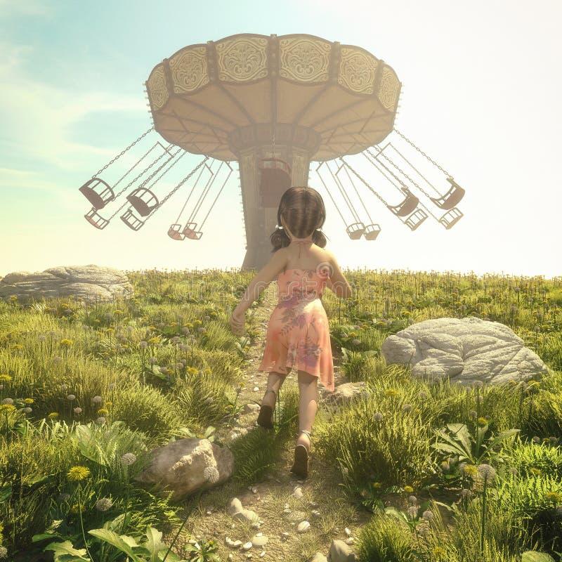 Маленькая девочка бежать в поле иллюстрация вектора