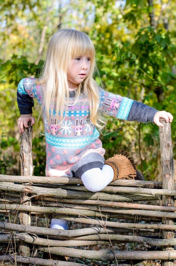 Маленькая девочка взбираясь над деревянной загородкой стоковые фото
