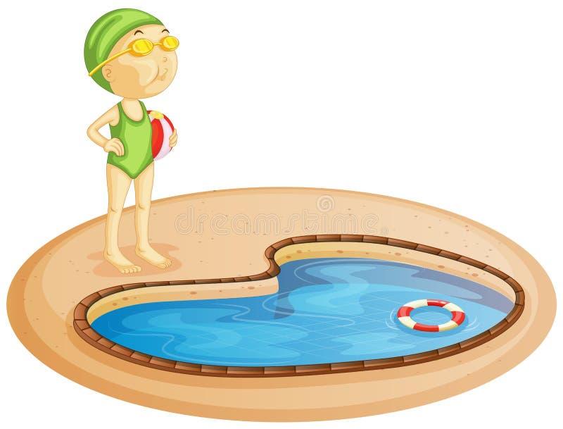 Маленькая девочка в бассейне иллюстрация вектора