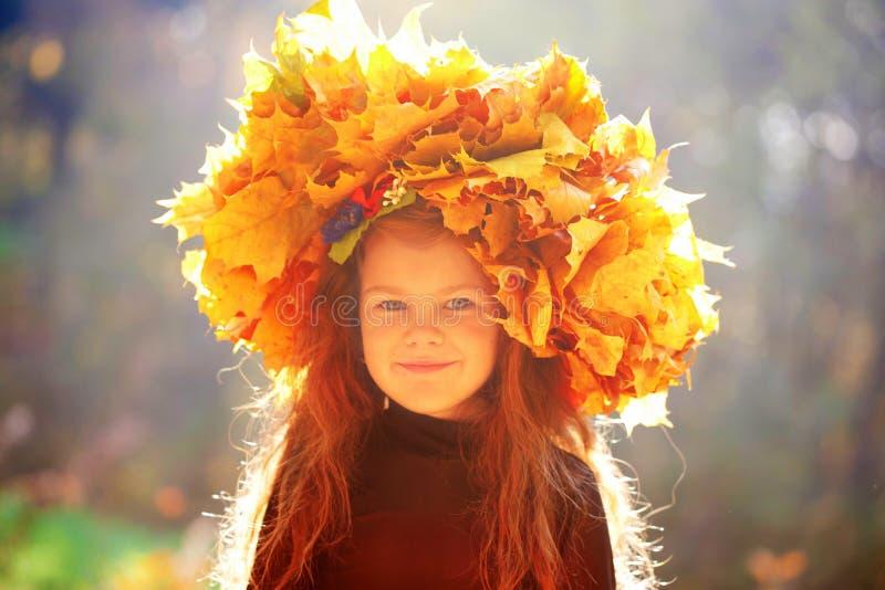 Маленькая девочка в желтых листьях стоковые фото
