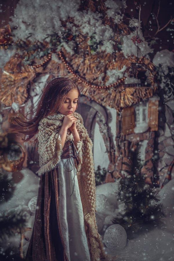 Маленькая девочка в изображении Золушкы стоковое изображение rf