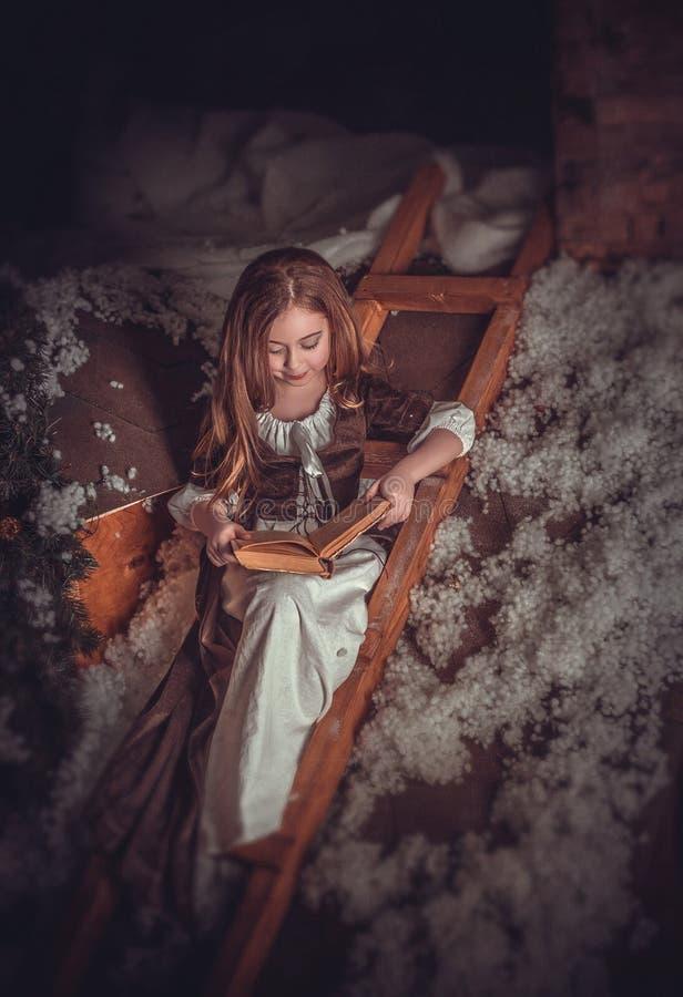 Маленькая девочка в изображении Золушкы стоковое фото rf