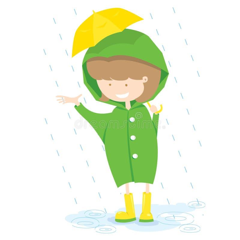 Маленькая девочка в дождливом дне. иллюстрация штока