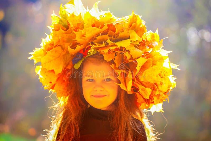 Маленькая девочка в парке осени в солнечном свете стоковое изображение