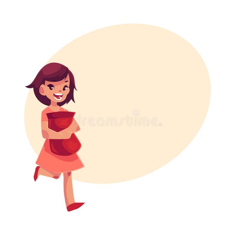 Маленькая девочка в розовом пакете удерживания платья обломоков в руках плотно иллюстрация вектора