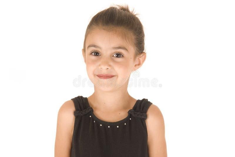 Маленькая девочка в черном трико стоковые изображения