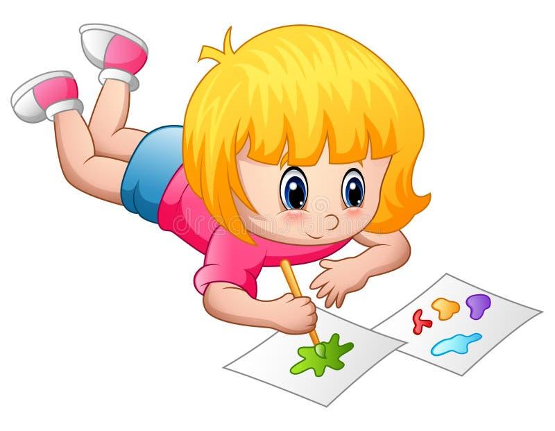Маленькая девочка лежа и крася на бумаге иллюстрация вектора