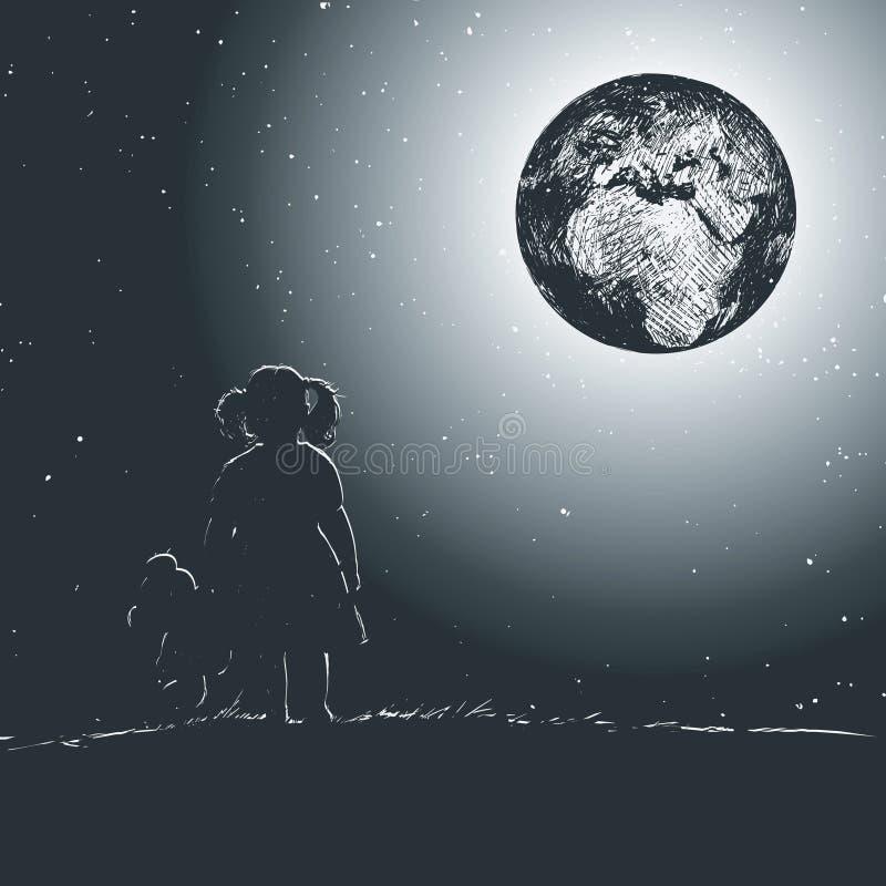 Маленькая девочка держит плюшевый медвежонка в ее руке и смотрит нашу планету от afar иллюстрация штока
