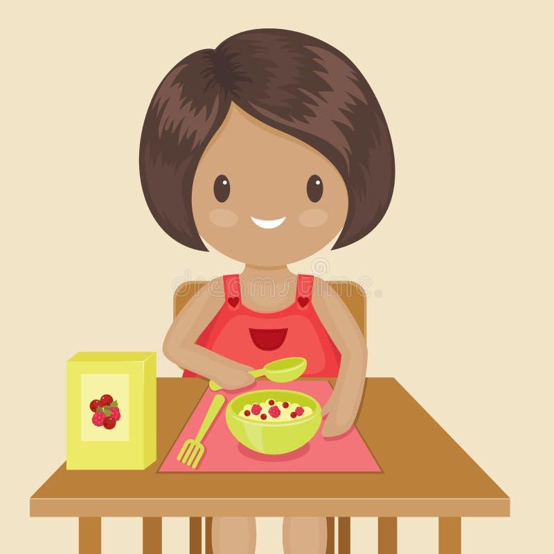 Маленькая девочка ест ее завтрак бесплатная иллюстрация