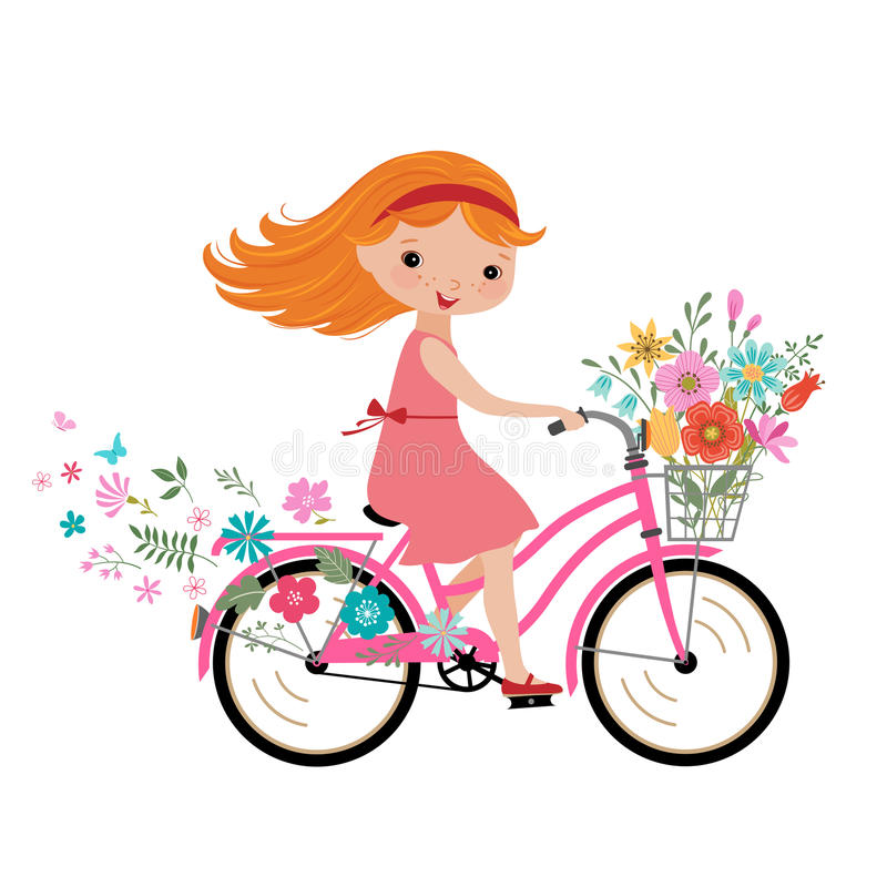Картинка девочка на велосипеде