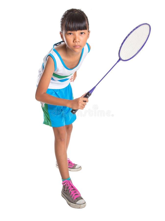 Маленькая девочка играя бадминтон IV стоковые фотографии rf