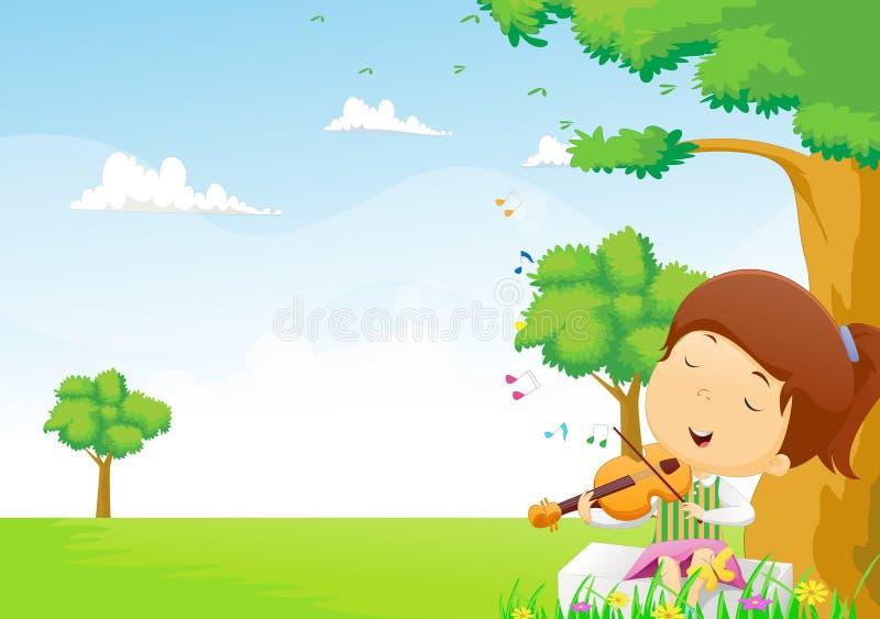 Маленькая девочка играя скрипку в парке иллюстрация штока