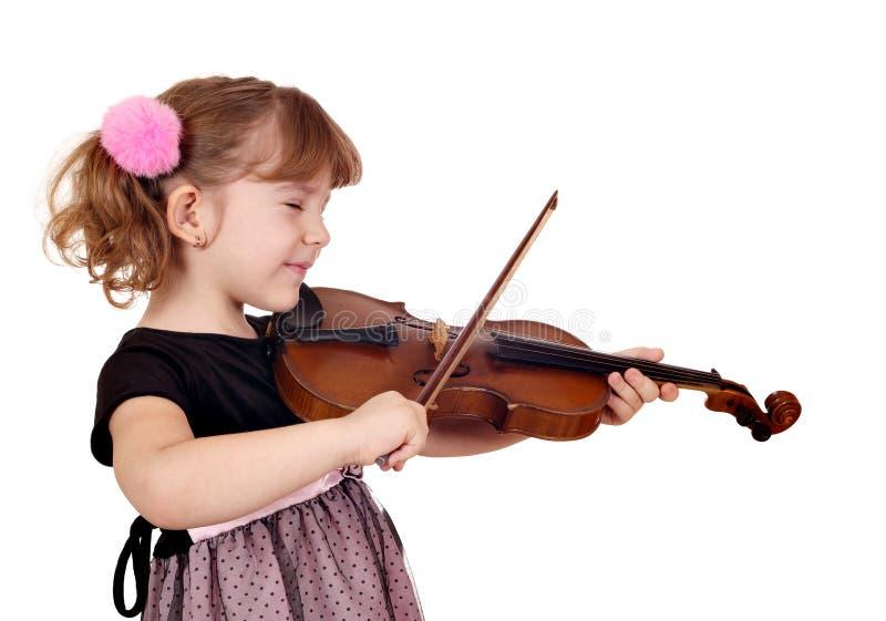 Маленькая девочка играя скрипку стоковые фотографии rf