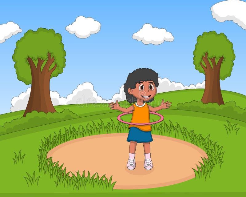 Маленькая девочка играя хмель hula на шарже парка иллюстрация вектора