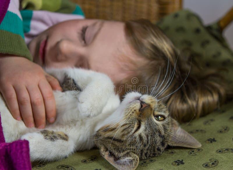 Маленькая девочка и кот расслабляющие стоковая фотография rf
