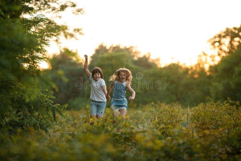 Маленькая девочка и мальчик бегут в лесе и держат руки стоковое изображение rf