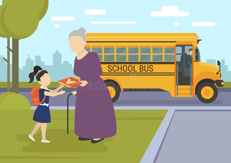 Маленькая девочка идя к дню школы первому иллюстрация вектора