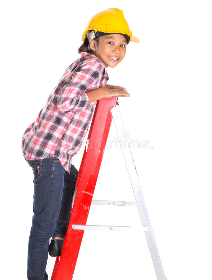 Маленькая девочка на лестнице IV стоковое изображение rf