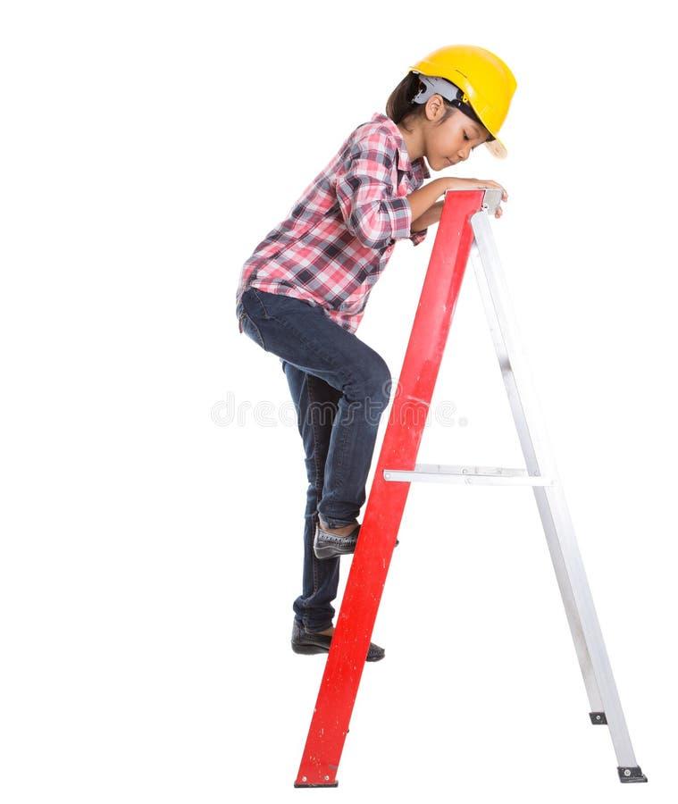Маленькая девочка на лестнице v стоковые фотографии rf