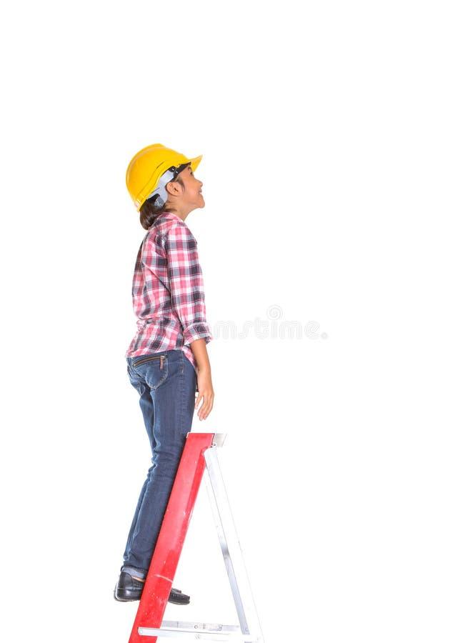 Маленькая девочка на лестнице VI стоковое фото