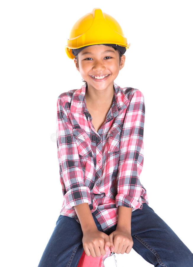 Маленькая девочка на лестнице VII стоковое изображение rf