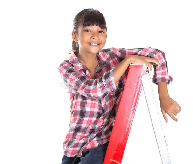 Маленькая девочка на лестнице XI стоковые фото