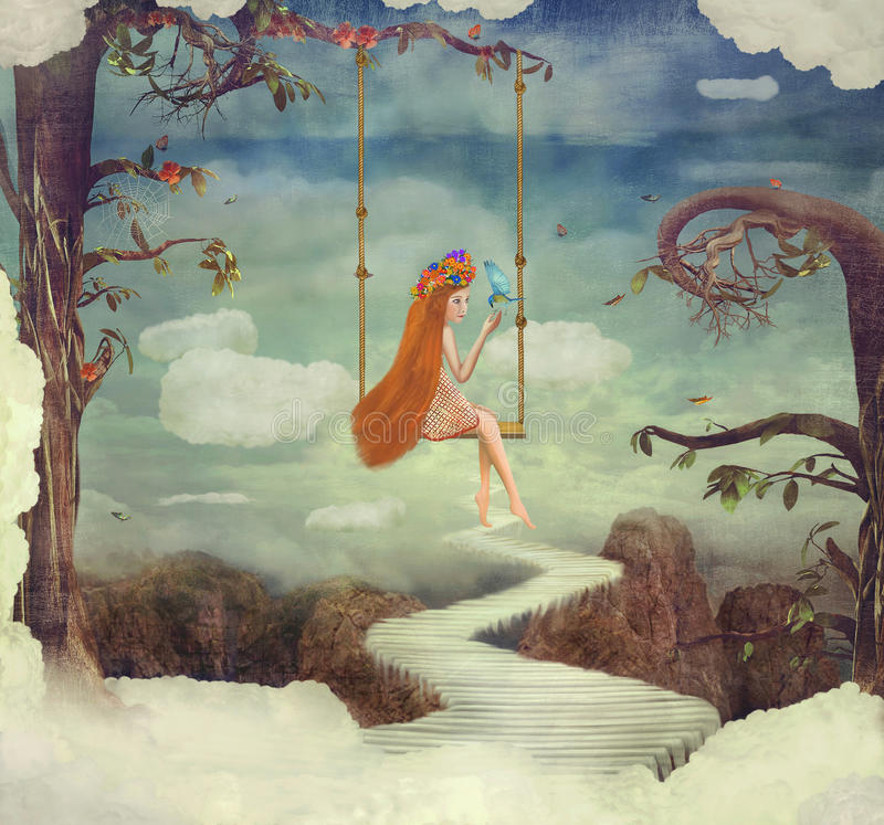 Маленькая девочка на качании в фантастической стране в небе иллюстрация штока