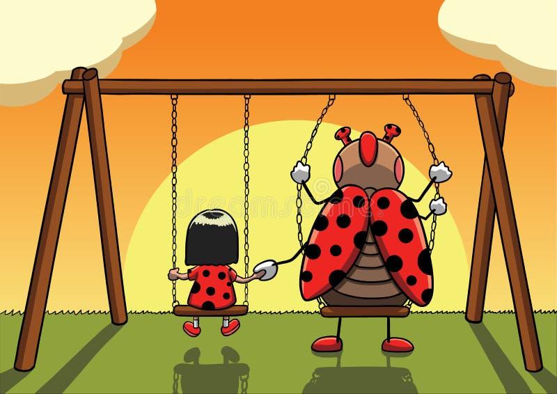 Маленькая девочка на качании держа руки с ladybug и наблюдая заход солнца иллюстрация штока