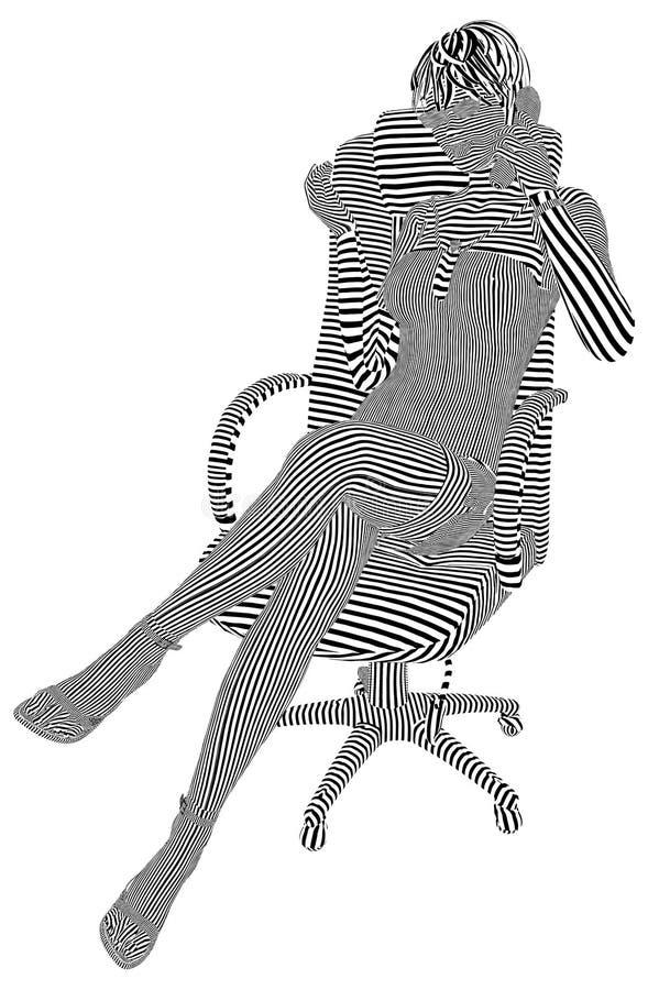 Маленькая девочка на телефоне в кресле Stripes вектор иллюстрация штока