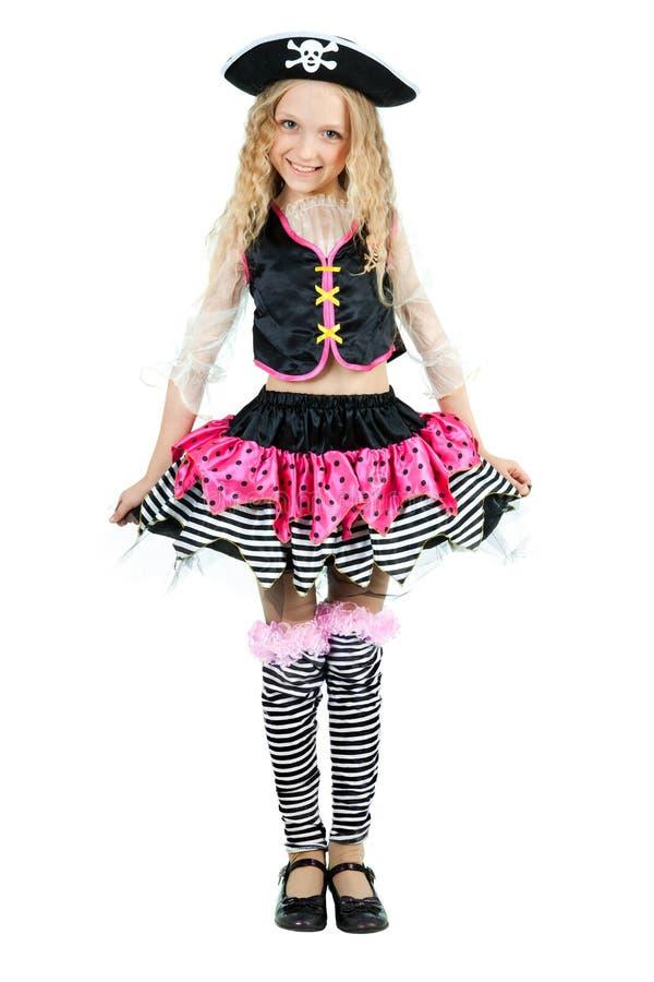 Маленькая девочка нося костюм масленицы пирата хеллоуина стоковые изображения rf